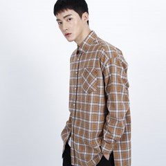 (UNISEX)Unbalance Brown Multi Check-shirt_(1410748)