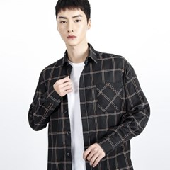 (UNISEX)Over-fit Black Window Check-Shirt_(1410747)