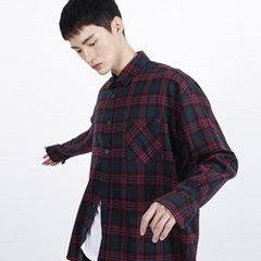 (UNISEX)Over-fit Green Omber Check-Shirt_(1410746)