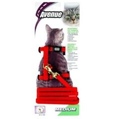 고양이외출용품 에비뉴 고양이 하네스 M(레드)_(1190152)