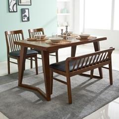 폴린 고무나무 원목 4인용 식탁(의자 미포함)