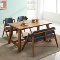 칸쿤 원목 4인용 식탁세트(벤치1+의자2)