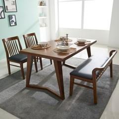 폴린 고무나무 원목 4인용 식탁세트(벤치1+의자2)