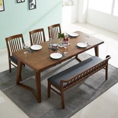 폴린 고무나무 원목 6인용 식탁세트(벤치1+의자3)