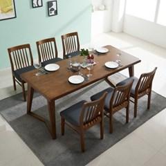 폴린 고무나무 원목 6인용 식탁세트(의자6)