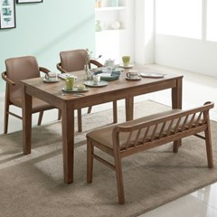 아모스 고무나무 원목 4인용 식탁세트(벤치1+의자2)