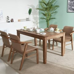 아모스 고무나무 원목 4인용 식탁세트(의자4)