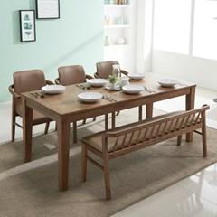 아모스 고무나무 원목 6인용 식탁세트(벤치1+의자3)