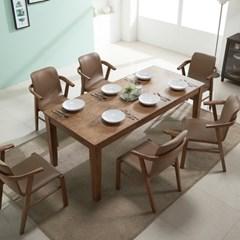 아모스 고무나무 원목 6인용 식탁세트(의자6)