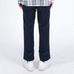 (UNISEX)Semi Wide Button Slacks(NAVY)