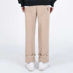 (UNISEX)Semi Wide Button Slacks(BEIGE)