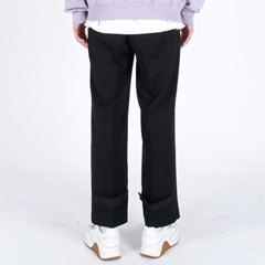(UNISEX)Semi Wide Button Slacks(BLACK)