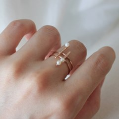 진주 눈송이 로즈 반지(6월탄생석)