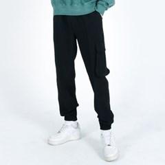 (UNISEX)Premium M Royal Cargo-Jogger Pants(BLACK)