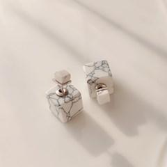 [크랙 스크래치 특가] 대리석 마블 큐브 귀걸이_블루밍캑터스