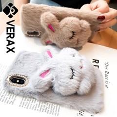 아이폰6S플러스 보송보송 토끼 퍼 젤리 케이스 P363_(2002424)