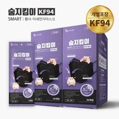 숨지킴이 KF94 중형 블랙 60매 황사방역마스크