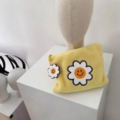 [rube] 노랑 뽀글이 파우치 (키링 포함)