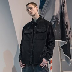 매스노운 SL 로고 오브젝트 코듀로이 포켓 셔츠 MFNST001-BK