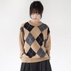 argyle check knit top (2colors)_(1368897)