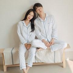 도비면 커플 라인 포인트 파자마 잠옷
