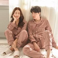 가을감성체크 커플 잠옷 홈웨어