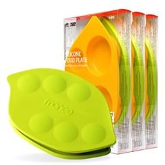 모니 이유식용품 이유식기 실리콘 흡착식판 + 뚜껑 3세트 (수량3)
