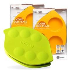 모니 이유식용품 이유식기 실리콘 흡착식판 + 뚜껑 2세트 (수량2)