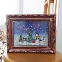 크리스마스 LED 액자 워터볼 오르골1985 (눈사람)