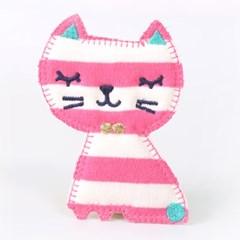 [펠트친구]분홍줄무늬 고양이와펜[1666]