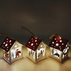 크리스마스 미니 우드 하우스 조명