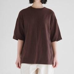 wool texture loose tee (brown)_(1371246)