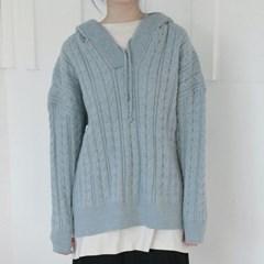twist charming hood knit top (4colors)_(1369570)