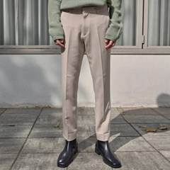 SOFT STRAIGHT SLACKS_LIGHT BEIGE