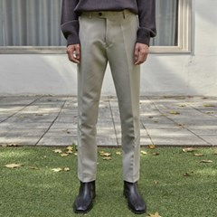 DUAL SLIM STRAIGHT SLACKS_LIGHT BEIGE