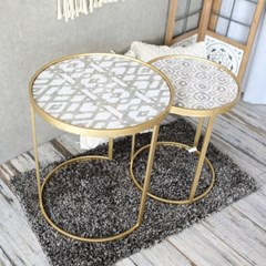 유니크 패턴 원형 사이드 테이블
