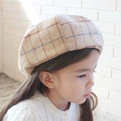 채니봉봉 모직체크 베레모 유아모자_(974024)
