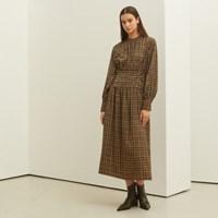 [룩캐스트] GREEN CHECK RIBBON LONG DRESS