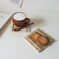 대나무 매듭 컵받침 트레이