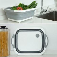 주방 접이식 도마 바구니 설거지통