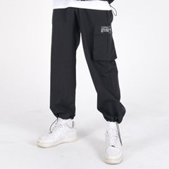 (UNISEX)Wearable Stopper Cargo Pants(BLACK)