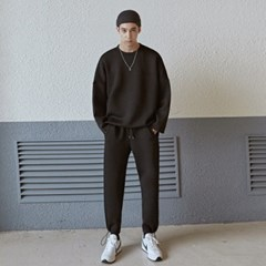 NEO TWINE LONG TEE+PANTS SET_BLACK