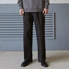 TUCK WIDE LONG COTTON PANTS_BLACK