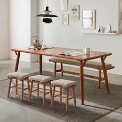 리치 6/8인용 원목 식탁테이블 2000세트 (벤치1개, 스툴3개포함)