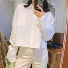카라 코튼 크롭 셔츠 (2color)