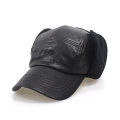 DFM KIDS BLACK LEA EARFLIP CAMP-CAP