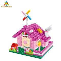 YZ040 나노블럭 아키텍쳐 미니블록 핑크 오두막 장난감