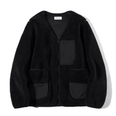 Boa Fleece Cardigan Jacket Black