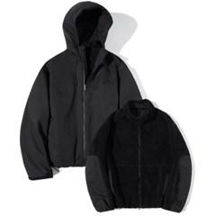 4way Boa Fleece Multiple Parka Black