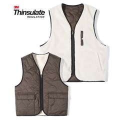 3M Thinsulate Reversible Boa Fleece Vest Ivory Brown